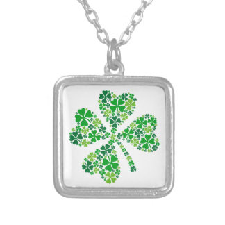 lucky four-leaf clover, green shamrock leaves square pendant necklace