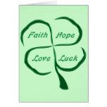 Lucky Four Leaf Clover Greeting Card