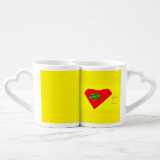 lucky four leaf clover heart coffee mug set