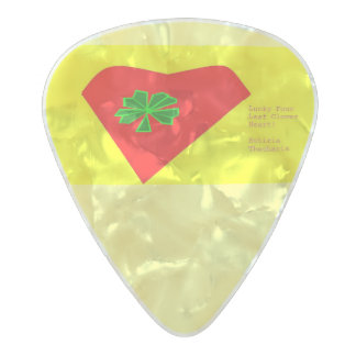 lucky four leaf clover heart pearl celluloid guitar pick