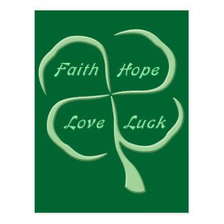 Lucky Four Leaf Clover Post Card