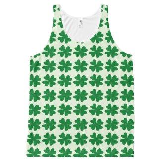 Lucky Four-Leaf Clover Print on Unisex Tank Top
