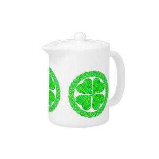 Lucky Four Leaf Clover Shamrock Art Teapot