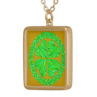 Lucky Four Leaf Clover Shamrock Celtic Necklace