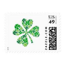 lucky four-leaf clover, shamrock postage
