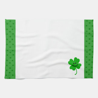 Lucky four leaf clover smiley face kitchen towel