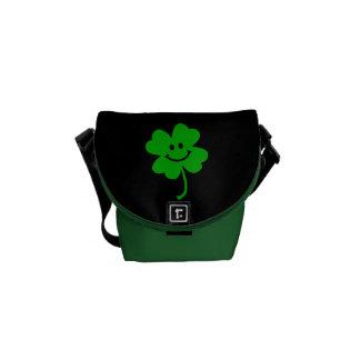 Lucky four leaf clover smiley face messenger bag