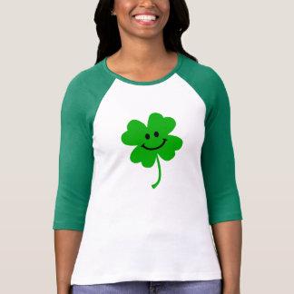 Lucky four leaf clover smiley face tee shirt