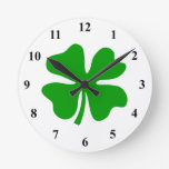 Lucky four leaf clover | St Patty's Day Round Wallclocks