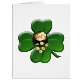 Lucky Four Leaf Clover with Pot Of Gold Greeting Card