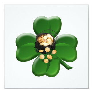 Lucky Four Leaf Clover with Pot Of Gold Card
