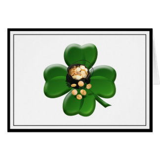 Lucky Four Leaf Clover with Pot Of Gold Cards