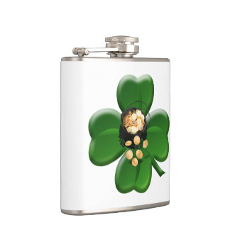 Lucky Four Leaf Clover with Pot Of Gold Flask