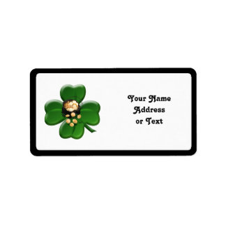 Lucky Four Leaf Clover with Pot Of Gold Personalized Address Labels