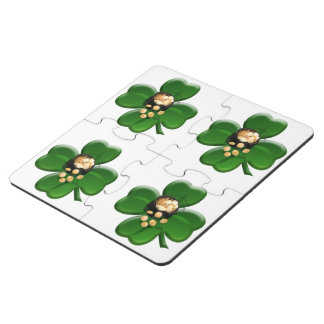Lucky Four Leaf Clover with Pot Of Gold Puzzle Coaster