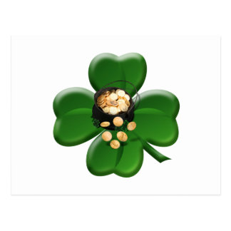 Lucky Four Leaf Clover with Pot Of Gold Post Card
