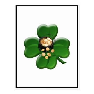 Lucky Four Leaf Clover with Pot Of Gold Post Cards