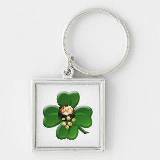 Lucky Four Leaf Clover with Pot Of Gold Silver-Colored Square Keychain