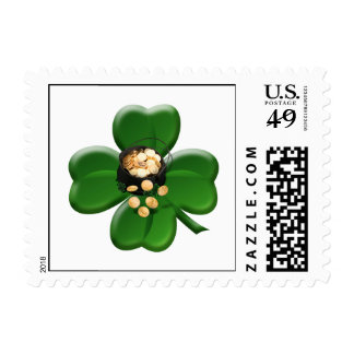 Lucky Four Leaf Clover with Pot Of Gold Stamps