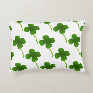 Lucky Four Leaf Clovers Accent Pillow