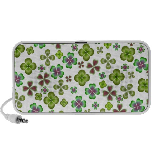 Lucky Four Leaf Clovers Doodle Portable Speaker