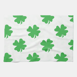 Lucky four leaf clovers kitchen towel