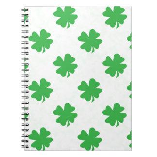 Lucky four leaf clovers notebook