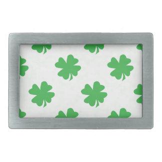 Lucky four leaf clovers rectangular belt buckles