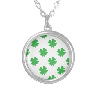 Lucky four leaf clovers round pendant necklace
