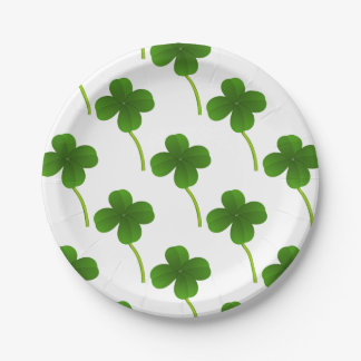 Lucky Four Leaf Clovers 7 Inch Paper Plate