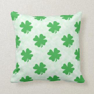 Lucky four leaf clovers throw pillow