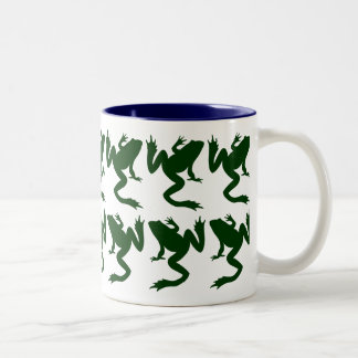 Lucky Fourteen Frogs Silhouette Two-Tone Coffee Mug