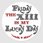 Lucky Friday the 13th Round White Sticker