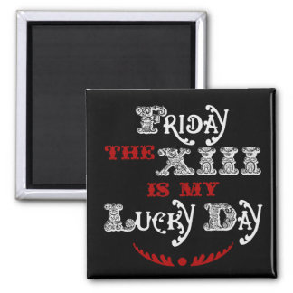 Lucky Friday the 13th Square Black Magnet