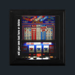 """Lucky Gambler Slot Machine Keepsake Box<br><div class=""""desc"""">A fun gift box for cuff links,  rings,  earrings,  or simply a fun memento for gambling fans.   Add a custom message in the text area or simply delete it prior to purchase.</div>"""