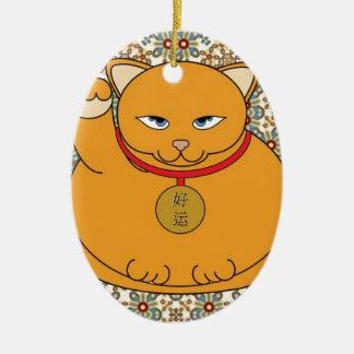 Lucky Gold Cat Ceramic Ornament