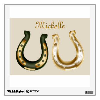 Lucky gold & green horseshoes st patrick's day wall sticker