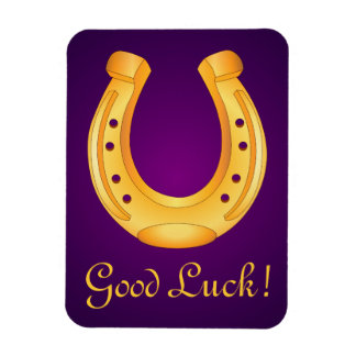 Lucky Golden Horseshoe Good Luck Deep Purple Magnet