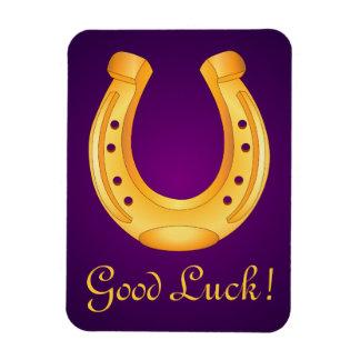 Lucky Golden Horseshoe Good Luck Deep Purple Vinyl Magnets