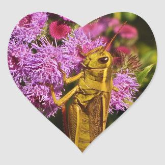 Lucky Grasshopper on Ageratum Heart Sticker