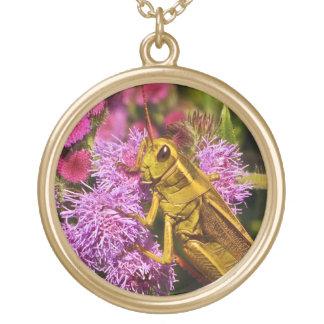 Lucky Grasshopper on Ageratum Round Pendant Necklace