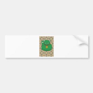 Lucky Green Cat Bumper Sticker