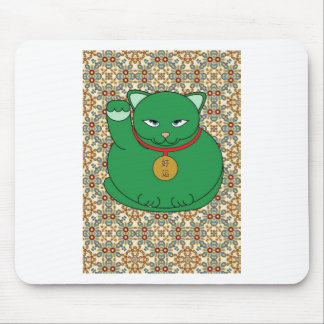 Lucky Green Cat Mouse Pad