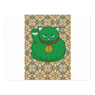 Lucky Green Cat Post Cards