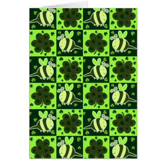 Lucky Green Checkered Bee Pattern Cards