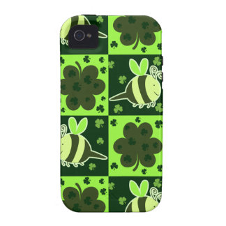 Lucky Green Checkered Bee Pattern Case For The iPhone 4