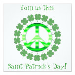 Lucky Green Clover Peace Sign Invitations