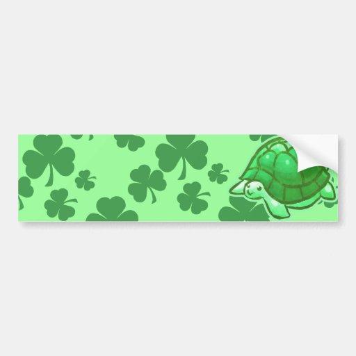 Lucky Green Clover Turtles Bumper Stickers