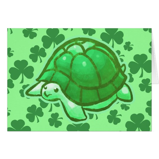 Lucky Green Clover Turtles Card