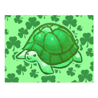 Lucky Green Clover Turtles Postcards